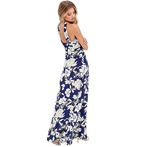 SKY nacional del viento!!! mujeres Vestido de flores Sra cabestro y forma Boho Vestido de fiesta largo de noche Vestidos de playa Sundress Azul oscuro