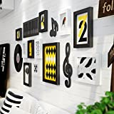 photo frame collage Simple living room solid wood photo wall creative music background wall decoration ( Color : Black and White )