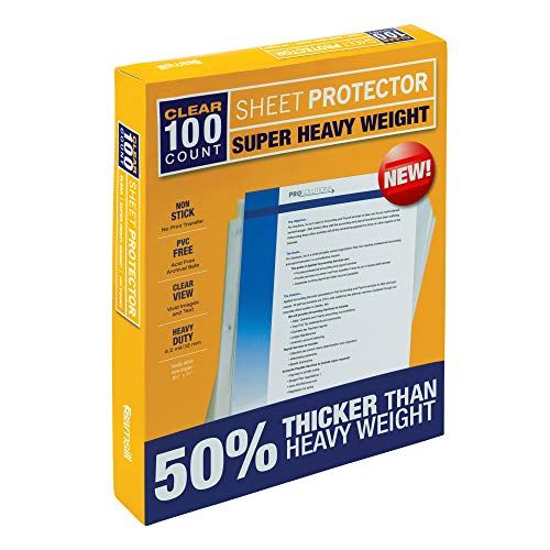 Samsill 100 Super Heavyweight Sheet Protectors, Clear Page Protectors for 3 Ring Binder, 4.7 MIL Thick Top Loading Document Protectors, Holds 10+ Sheets, Archival Safe/Acid Free, Box of 100