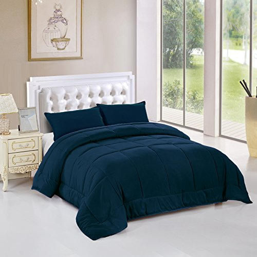 Maiija Year-round Comfy 3 Piece Set Light Weight, Warm Goose Down Alternative Box Stitch Comforter (Queen/Full, Navy blue) (Dark Blue Comforter)