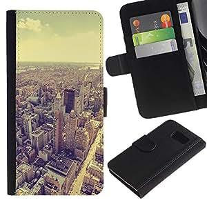 All Phone Most Case / Oferta Especial Cáscara Funda de cuero Monedero Cubierta de proteccion Caso / Wallet Case for Samsung Galaxy S6 // horizonte de viñeta de la arquitectura de la sepia de la ciudad