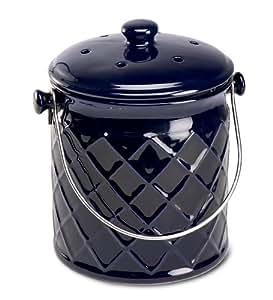 1-Gallon Leakproof, Odor-Free Lattice Ceramic Compost Container, in Blue