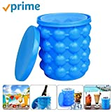 Ice Bucket,Large Silicone Ice Bucket & Ice Mold with lid, Silicon Ice Cube Maker LEADTEAM, (2 in 1) Space Saving Ice Cube Maker, Portable Silicon Ice Cube Maker (Blue)