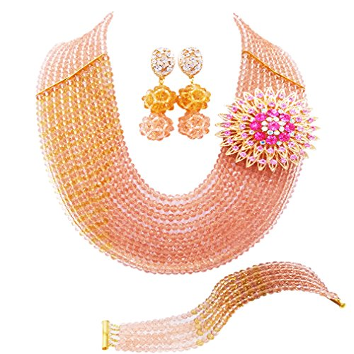 (laanc 10 Rows Nigerian Wedding African Beads Jewelry Set Crystal Bridal Jewelry Sets (Peach and Champagne Gold))