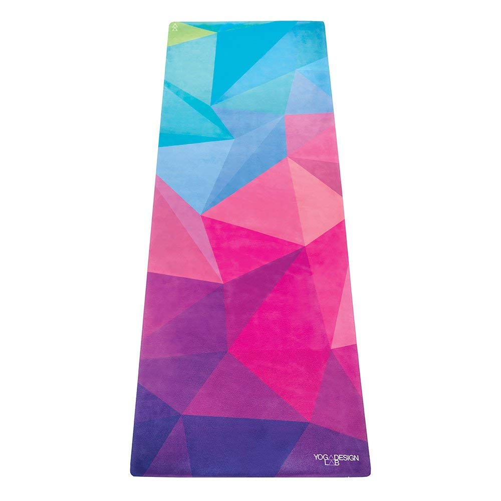 YOGA DESIGN LAB The Commuter Yoga MAT Lightweight, Foldable, Eco Luxury Mat/Towel | Ideal for Hot Yoga, Bikram, Pilates, Barre, Sweat | 1.5mm Thick | Includes Carrying Strap! (Geo,)