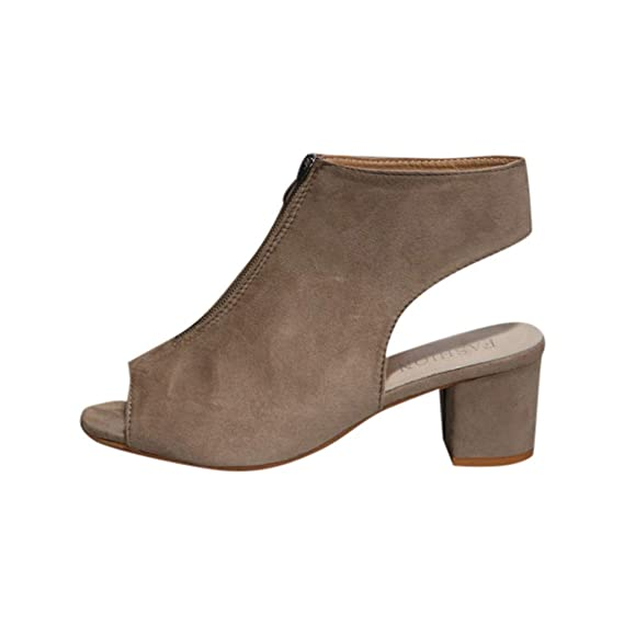 POLP Zapatos Tacón Ancho Mujer 2019,Sandalias de Vestir,Sandalias Verano 2019 Tacon Fiesta Sandal con Punta Abierta para Mujer con Cremallera Casual Negro ...
