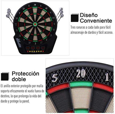 HOMCOM Diana Electronica con 6 Dardos Juego Digital con Sonido En Bar Gimnasio para hasta 27 Juego con 243 Variantes 44x51.5x3.2: Amazon.es: Deportes y aire libre