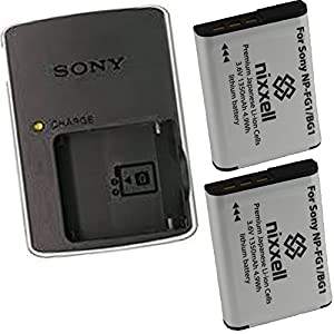 Sony BC-CSG Charger for Sony NP-BG1 NP-FG1 Battery Cyber-shot DSC-W90 W100 W120 W130 W150 W170 W200 W210 W215 W220 W230 W270 W290 W300 DSC-WX1 WX10,Handycam HDR-GW77V Digital Cameras + 2 Bonus Battery