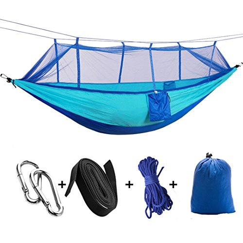 Camping Hammock with Mosquito Net,Double Persons Iqammocking Bed Tent Portable Cot for Relaxation,Traveling,Outside Leisure (Blue)