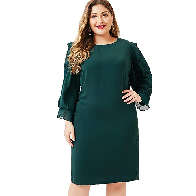 LXYD Womens Plus Size Casual Dress Long Lotus Ruffle Sleeve ...