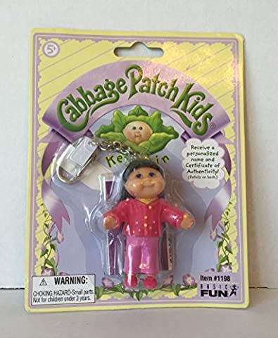 Cabbage Patch Kids Dark Haired Girl in Pink Pants Outfit Keychain #1198. Out of Print, 2004 - Dark Sky Chain