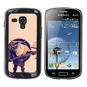 Shell-Star Arte & diseño plástico duro Fundas Cover Cubre Hard Case Cover para Samsung Galaxy S Duos / S7562 ( Viking Shield Axe Helmet Beard Long Man )
