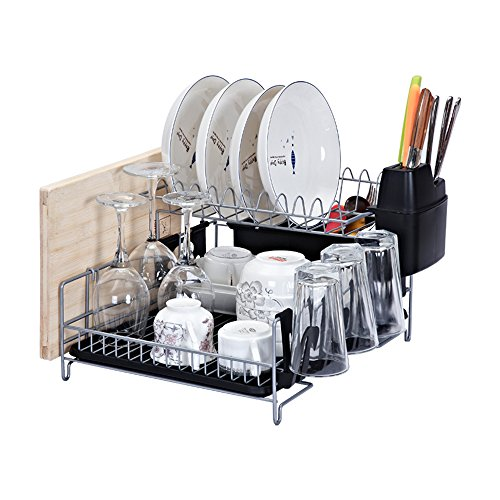 Large Rack Knife (Kitchen Dish Rack, Stainless Steel 2-Tier Dish Rack with Drainboard,Utensil Holder, Knife Holder Attachment,3 Cup Holder Attachments,Cutting Board Attachment)