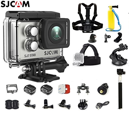 SJCAM SJ7 Star Kit {SJ7 Camera with Accessories, 5-in-1 Accessories} Real 4K Action Camera Wifi Waterproof Underwater Camera Ambarella Chipset 30FPS/Sony Sensor 12MP Gyro Stabilization-Silver