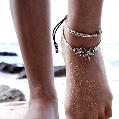 Aukmla Rune Boho Starfish Anklet Foot Chain Vintage Ankle Bracelet for Women Barefoot Sandal Beach Jewelry Adjustable (Silver 2Pcs)