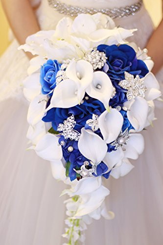 IFFO Royal Blue Bouquet, White Calla Lily Bridal Bouquet, Water Drops Waterfall Shape, Luxury Jewelry Bouquet Romantic Wedding (have jewelry)
