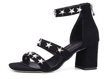 8ea5d6d2b2ea Women Ankle Strap Pump Charming Suede Five-Pointed Star Bead Rivets Word  Buckle Roman Sandals