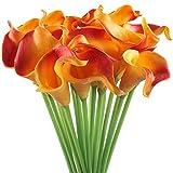 Gtidea 20pcs Calla Lily Wedding Artificial flowers Bouquets PU Arrangements Bride Home DIY Garden Office Decor Orange