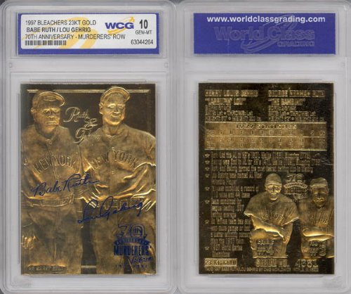 1997 Yankees Babe Ruth - Lou Gehrig 23kt Gold Card Gem-mint 10