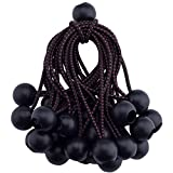 E.share - Extreme Heavy Duty 25PC Ball Bungees - Canopy Tarp Tie Down Cord - Black 9-Inch