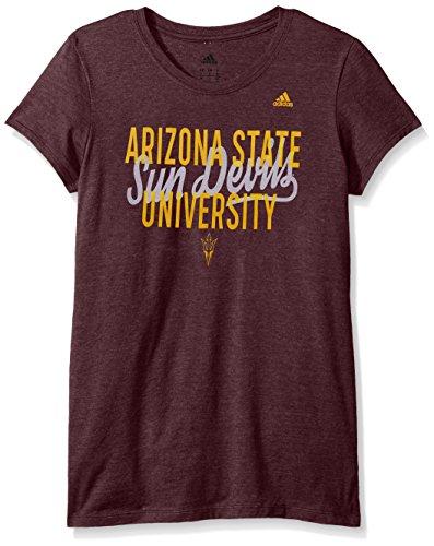 adidas NCAA Arizona State Sun Devils Script Tail Overlay Cap Sleeve Tee, Large, Maroon