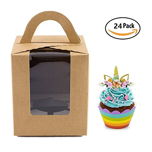 Single Cupcake Boxes with Window, 24pcs Gift Box for cupcake to go for Wedding Decoration, Party Favor, Leather color -