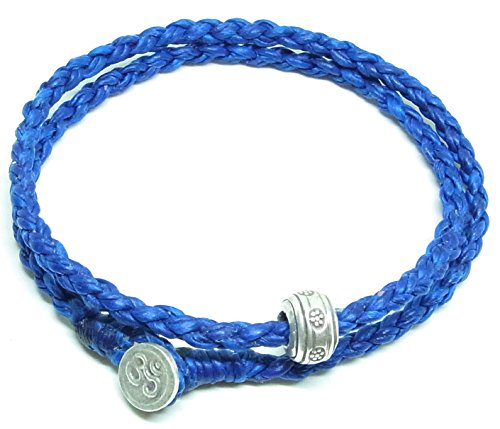 BUSABAN Asian Handmade Wrap Bracelet 925 Silver Beads OHM Button Blue Braided Wax String ()