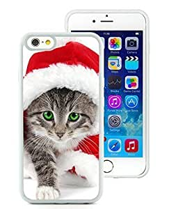 2014 Newest Case Cover For Apple Iphone 5S Christmas Cat White Hard Case 7