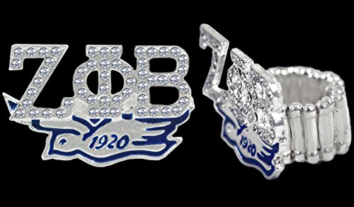 Zeta Phi Beta Sorority Silver Stretchy Band Ring W/stones