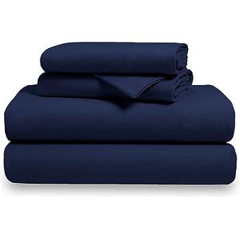 Charming 100% Cotton Velvet Flannel Sheet Set   Extra Soft Heavyweight   Double  Brushed Flannel   Deep Pocket (Queen, Dark Blue)
