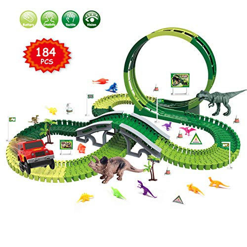 (Dinosaur Race Track Toys Set - Jurassic Dino World 184 PCS Slot Car Flexible Track Playset Kids Toys with Big T-Rex,Triceratops and 12 Small Random Colors Dinos for 3 4 5 6 7 Years Old Boys and Girls)