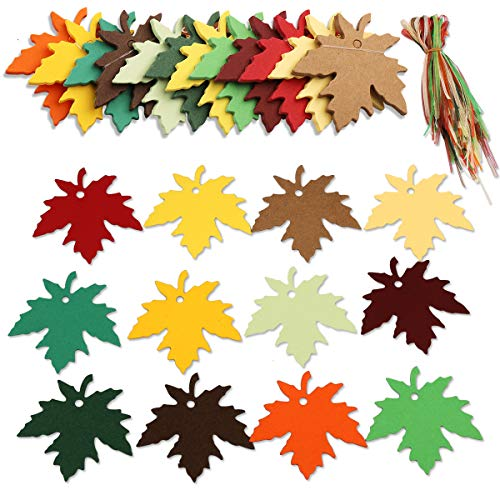 120 Pcs 12 Colors Gift Kraft Paper Tags Maple Leaves, Arts and Crafts Sign with Ropes Fall Wedding Party Paper Tags for Autumn Thanksgiving Wedding