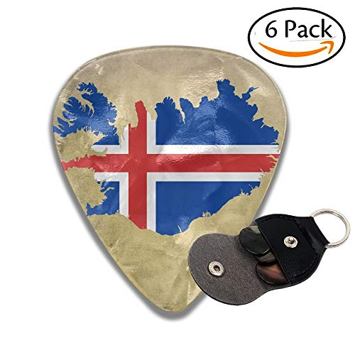 Iceland Flag Map Celluloid Guitar Picks Plectrums Guitar Bass Accessories, 6 Pack.71mm ()