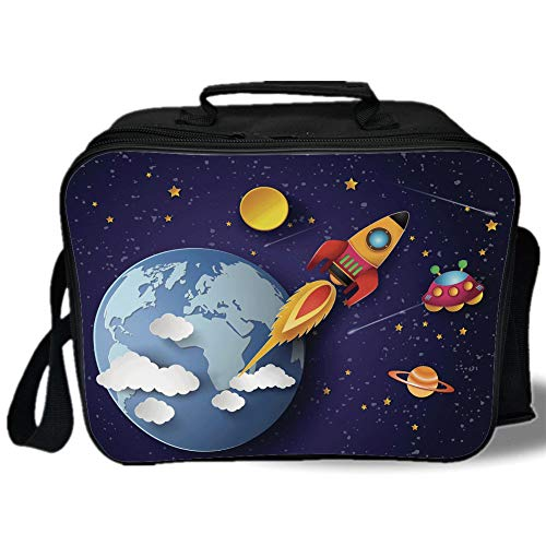 Insulated Lunch Bag,Outer Space,Rocket on Planetary System with Earth Stars Ufo Saturn Sun Galaxy Boys Print,Multicolor,for Work/School/Picnic, Grey