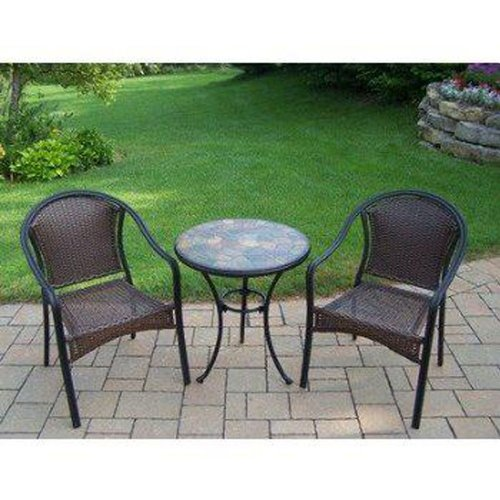 Oakland Living Stone Art 3-Piece Bistro Set with Tuscany Wicker Chairs, 24-Inch ()