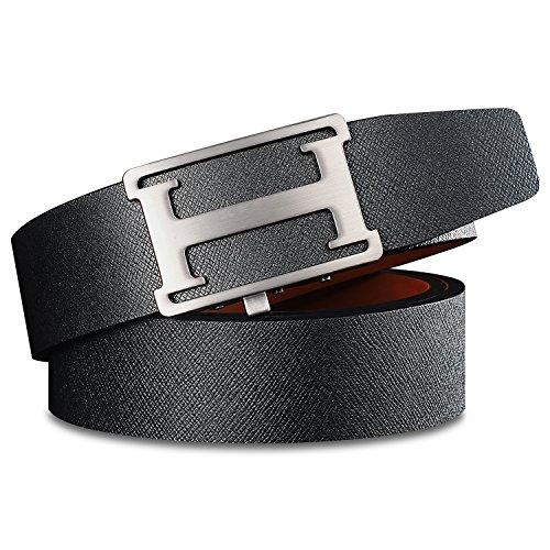 H Belts for Men Leather Ratchet Belt Clip Sliding Buckle Regualr Big and Tall Size