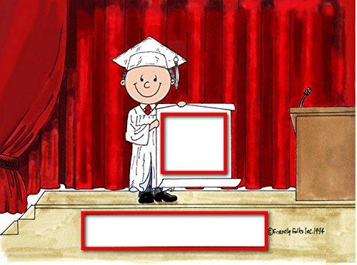 Personalized Friendly Folks Cartoon Snow Globe Frame Gift: Graduation - Male Great for high school, college, tech school graduation