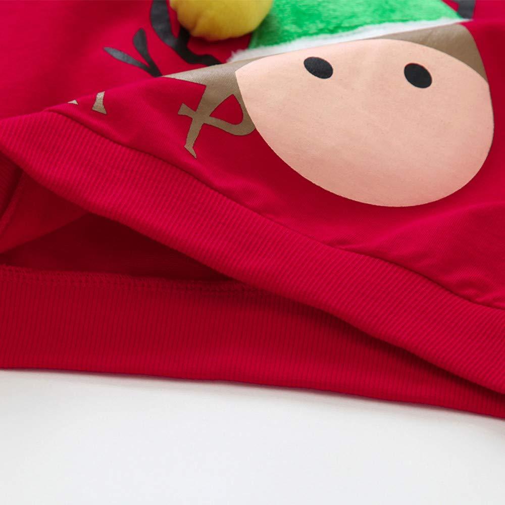 BaZhaHei Sweat-Shirt de No/ël B/éb/é Fille Gar/çon Col Rond Gant de Sapin de No/ël Rudolph Elk Enfants Manches Longues V/êtements de Automne Hiver pour 2-11 Ans