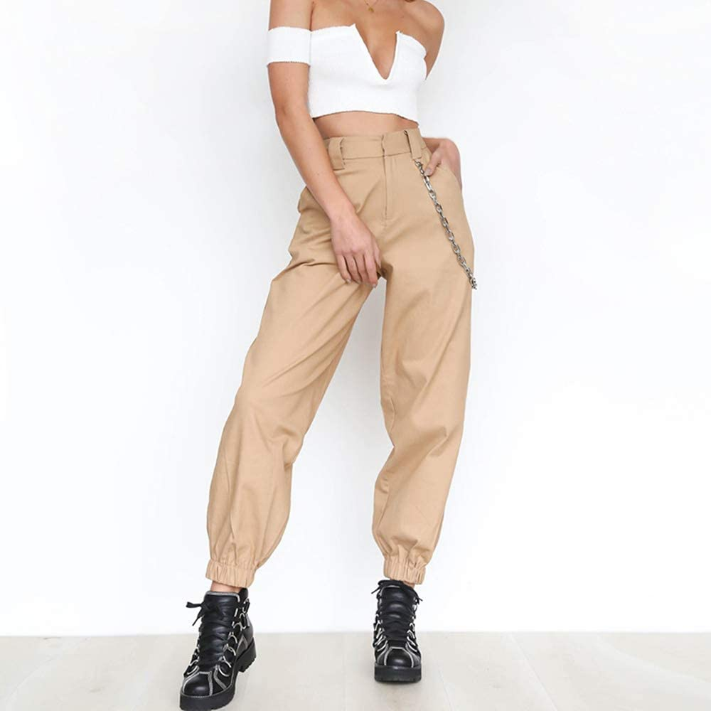 2019 New Casual Women Chain Pants High Waist Hip Hop Sports Hippie Long Trousers