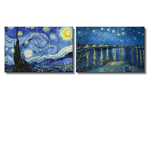 wall26 Starry Night & Over The Rhone River Canvas Prints Set of 2 - Reproduction of Van Gogh/Ready to Hang - 16