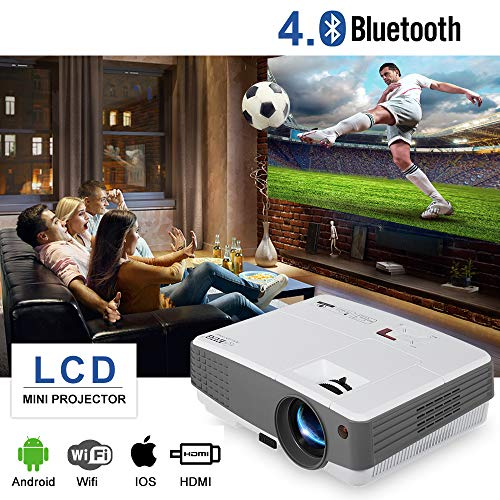 EUG Portable WiFi Wireless Projector with Bluetooth 2018 Smart LCD TV Video Projector, HDMI USB VGA AV Android OS for Home Theater System Outdoor Movies DVD Laptops PS4/3 Wii Support 1080P