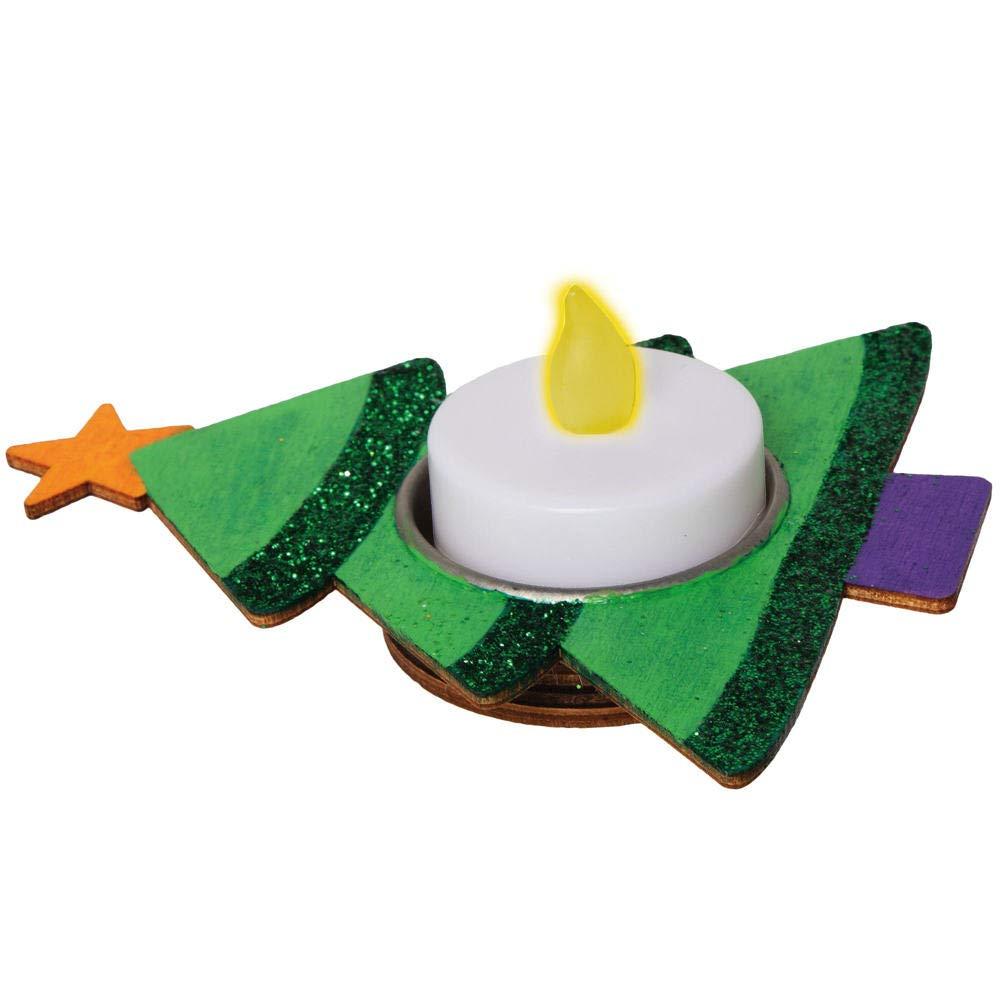 Paquete De 4 Proyecto Ideal De Manualidades Para Ni/ños Para Decorar Y Exhibir Decoraciones Navide/ñas Baker Ross AX429 Portavelas De Madera En Forma De Arbol De Navidad