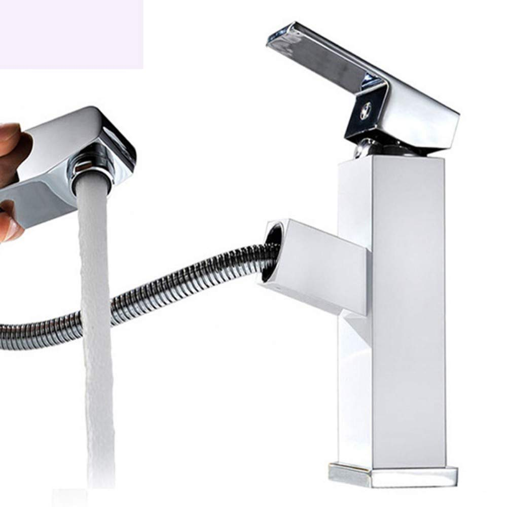 Faucet Square hot and Cold washbasin Faucet Bathroom Pull Copper Faucet