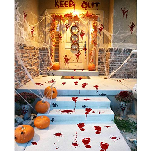 Halloween Party Decorations Zombie Vampire Halloween Party Decor Bloody Hand Footprints Window Wall Decals Zombie Vampire Party Supplies Decorations for Kids Party Floor Sticker Clings -