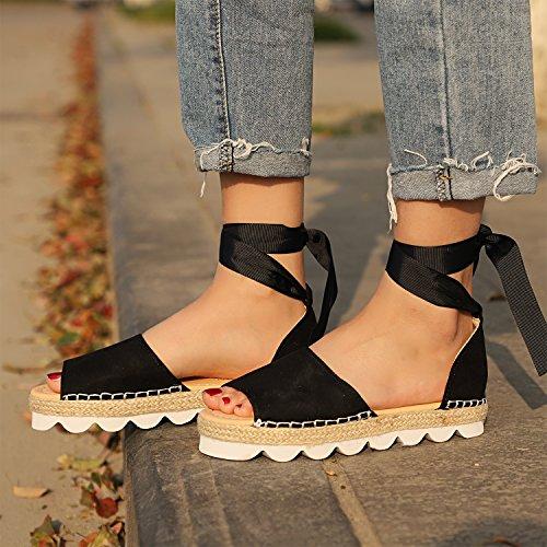 De Plage Talon Chaussures Shoes Bonbon Été Bohême Plate Poissons Mode Femme Noir Sandale Frestepvie Printemps Décontractée Couleur Bouche De 0xgY1a1wq