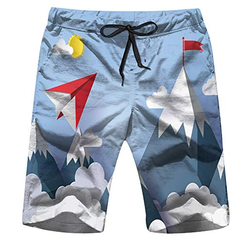 Nature Landscape Concept Business Plane Finance Paper Men's Swim Trunks Beach Short Board Shorts XL