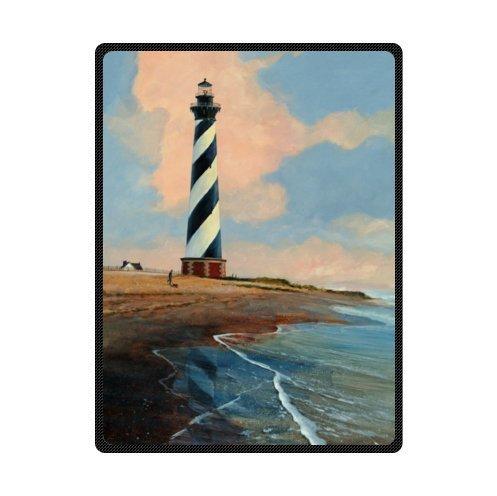 Personalized beautiful lighthouse design Fleece Blankets Throws 58 x 80 (Personalized Lighthouse)