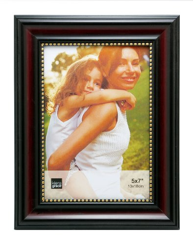 Kiera Grace Lucy Picture Frame, 5 by 7-Inch, Dark Brown with Gold Beading