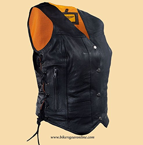 Dream WOMEN'S MOTORCYCLE RIDING 7 POCKETBLK LEATHER VEST SIDE LACES GUN POCKET INSIDE (Regular Regular M Regular) from Dream