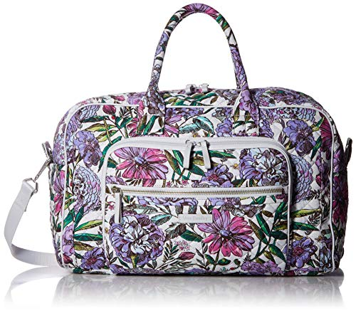 Vera Bradley Iconic Compact Weekender Travel Bag, Signature Cotton, Lavender Meadow ()